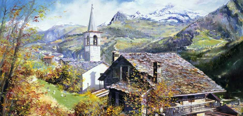 Antagnod, Paesaggio Alpino, Giovanni Ferri, Olio