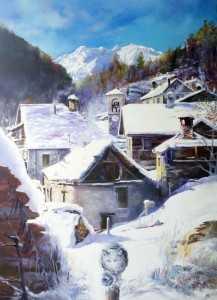 Paesaggio alpino con neve e gatto
