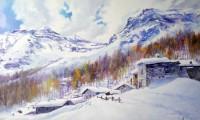 Paesaggio alpino con la neve