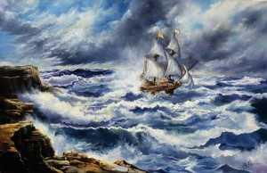 Via col vento, marina con veliero