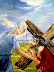 Via Crucis, Gesù è aiutato dal Cireneo a portare la Croce