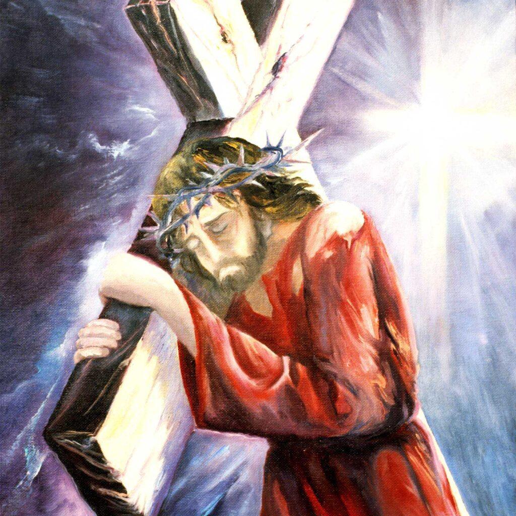 Via Crucis, Gesù Sale Al Calvario Sotto Il Pesante Legno Della Croce