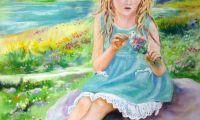 giovanni ferri, terni, bambina che sfoglia margherite, pastello su carta, 50 x 70 cm