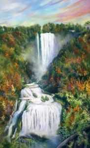 giovanni ferri, carla massarini, cascata delle marmore, marmore falls, pastello