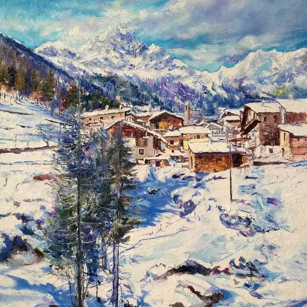 Giovanni Ferri, Terni, Paesaggio Alpino, 25 X 35 Cm, Olio Su Cartone Telato