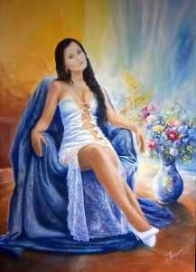 giovanni ferri, terni, ragazza sul divano, olio su tela, 100 x 70 cm