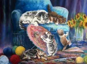 giovanni ferri, terni, i gatti monelli, pastello su carta, 60 x 80 cm, collaborazione carla massarini