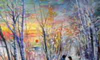 giovanni ferri, terni, incontro sulla neve, olio su tela, 40 x 50 cm