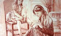 giovanni ferri, terni, l'attenzione, grafica a sanguigna su carta, 56 x 76 cm