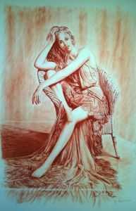 giovanni ferri, terni, l'attesa, grafica a sanguigna su carta, 100 x 70 cm