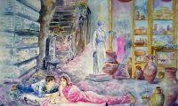 giovanni ferri, terni, la fontanella, acquerello su tela, 180 x 100 cm