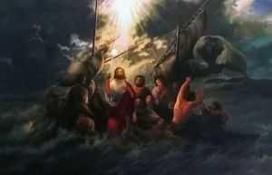 giovanni ferri, terni, la tempesta su lago di genezareth, olio su tela, 120 x 80 cm, casteltodino, umbria