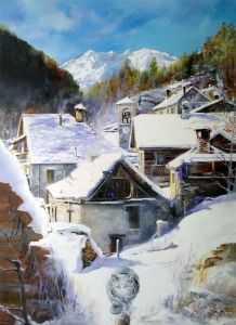 giovanni ferri pittore terni paesaggio innevato 60 x 80 cm olio su tela