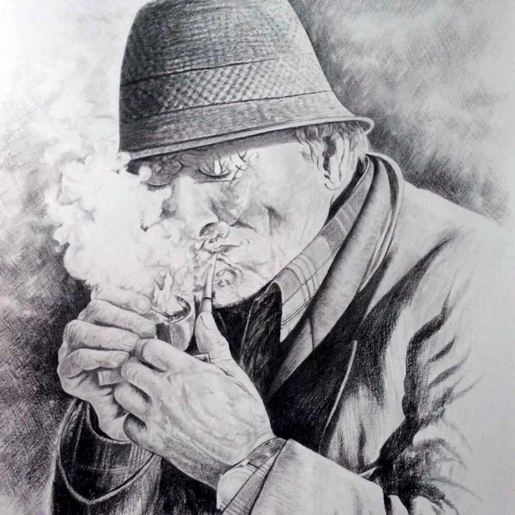 Zio Vincenzo Fumatore Di Pipa Grafica Giovanni Ferri